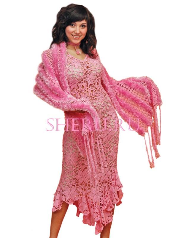 Код cхемы вязания: sh138.  Ажурное розовое платья с шалью.